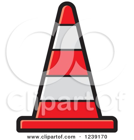 Clipart of a Road Construction Traffic Cone - Royalty Free Vector Illustration by Lal Perera