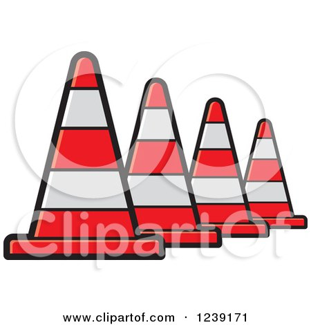 Clipart of a Row of Road Construction Traffic Cone - Royalty Free Vector Illustration by Lal Perera