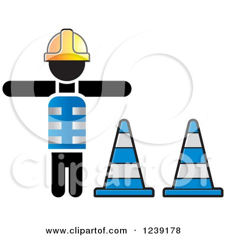 Clipart of a Construction Worker and Traffic Cones - Royalty Free Vector Illustration by Lal Perera