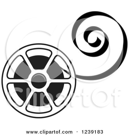 Clipart of a Black and White Film Reel with Curling Tape - Royalty Free Vector Illustration by Lal Perera