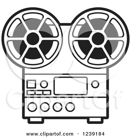 Clipart of a Silver Movie Projector and Film Reels - Royalty Free Vector Illustration by Lal Perera