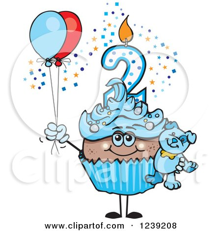 Clipart of a Blue Boys African Second Birthday Cupcake with a Teddy Bear and Balloons - Royalty Free Vector Illustration by Dennis Holmes Designs