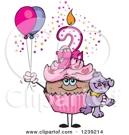 Clipart of a Pink Girls African Second Birthday Cupcake with a Teddy Bear and Balloons - Royalty Free Vector Illustration by Dennis Holmes Designs