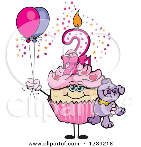 Clipart of a Pink Girls Asian Second Birthday Cupcake with a Teddy Bear and Balloons - Royalty Free Vector Illustration by Dennis Holmes Designs