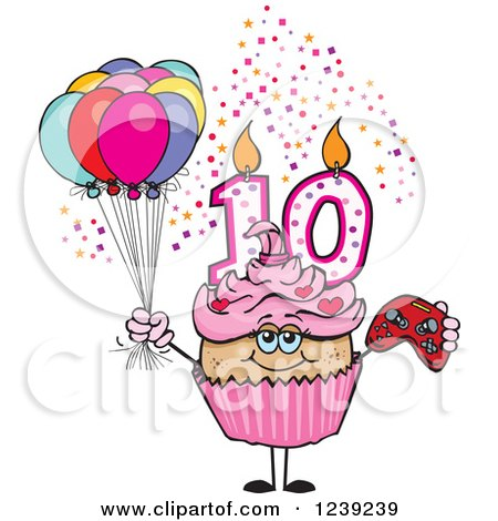 Clipart of a Pink Girls Latina Tenth Birthday Cupcake with a Video Game Controller and Balloons - Royalty Free Vector Illustration by Dennis Holmes Designs