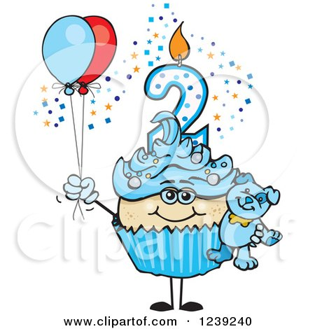 Clipart of a Blue Boys Asian Second Birthday Cupcake with a Teddy Bear and Balloons - Royalty Free Vector Illustration by Dennis Holmes Designs