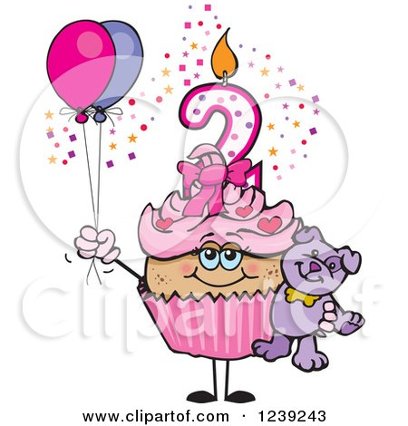 Clipart of a Pink Girls Latina Second Birthday Cupcake with a Teddy Bear and Balloons - Royalty Free Vector Illustration by Dennis Holmes Designs