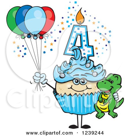Clipart of a Blue Boys Asian Fourth Birthday Cupcake with a Dinosaur and Balloons - Royalty Free Vector Illustration by Dennis Holmes Designs
