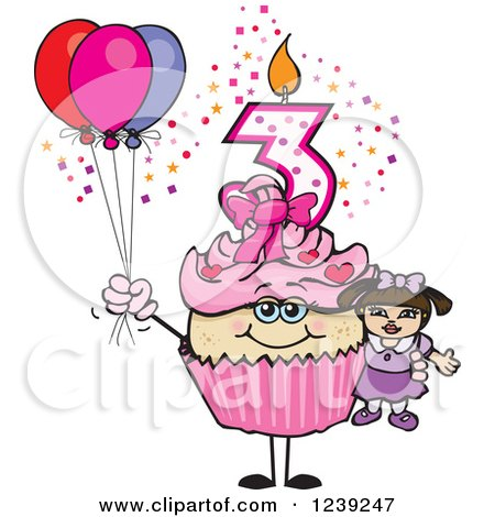 Clipart of a Pink Girls Asian Third Birthday Cupcake with a Doll and Balloons - Royalty Free Vector Illustration by Dennis Holmes Designs
