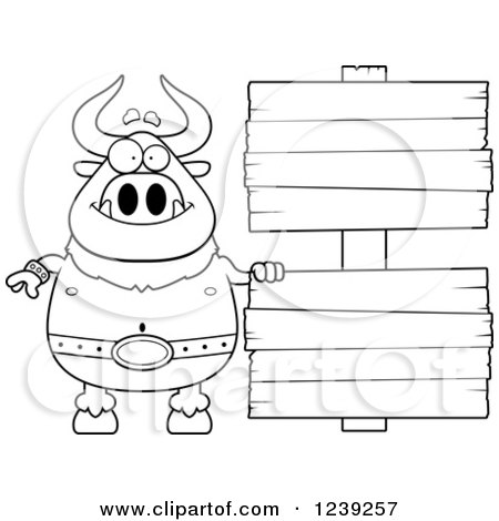 Clipart of a Black and WhiteHappy Minotaur Bull Man with Wood Signs - Royalty Free Vector Illustration by Cory Thoman