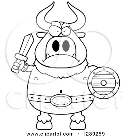 Clipart of a Black and WhiteMinotaur Bull Man Ready for Battle - Royalty Free Vector Illustration by Cory Thoman