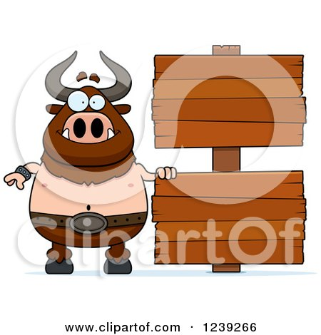 Clipart of a Happy Minotaur Bull Man with Wood Signs - Royalty Free Vector Illustration by Cory Thoman