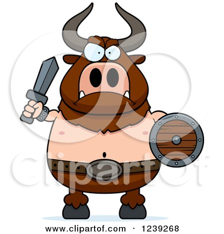 Clipart of a Minotaur Bull Man Ready for Battle - Royalty Free Vector Illustration by Cory Thoman
