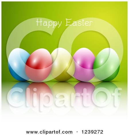 Clipart of a Happy Easter Greeting over Colorful Eggs on Green - Royalty Free Vector Illustration by KJ Pargeter