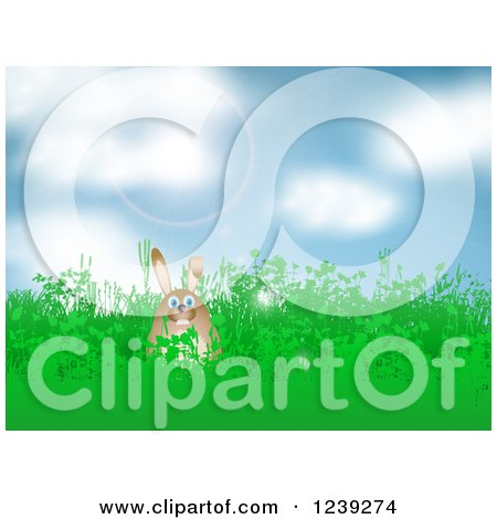 Clipart of a Happy Brown Easter Bunny in Grass, Against a Sunny Sky - Royalty Free Vector Illustration by KJ Pargeter