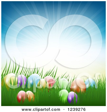 Clipart of Colorful Easter Eggs in Grass Against a Sun Burst - Royalty Free Vector Illustration by KJ Pargeter