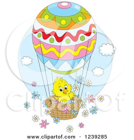 Clipart of a Yellow Easter Chick on an Egg Hot Air Balloon, with Flowers - Royalty Free Vector Illustration by Alex Bannykh