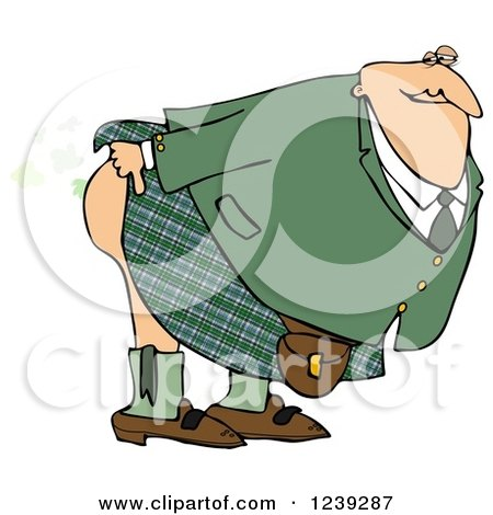 Clipart of a Man in a Kilt, Bending over and Releasing a Scotch Gas Fart - Royalty Free Illustration by djart