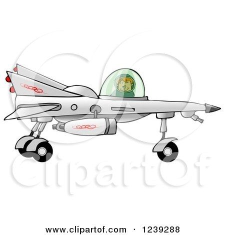 Clipart of a Boy Astronaut Flying a Star Fighter Jet - Royalty Free Illustration by djart