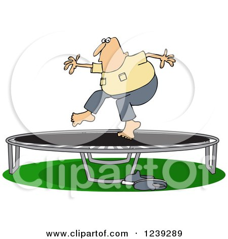 Clipart of a Chubby Caucasian Man Jumping on a Trampoline - Royalty Free Vector Illustration by djart