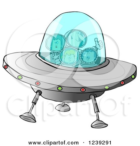 Clipart of a Family of Astronauts Flying a UFO Spaceship - Royalty Free Illustration by djart