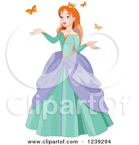 Clipart of a Red Haired Princess with Spring Butterflies - Royalty Free Vector Illustration by Pushkin