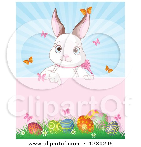 Clipart of a Cute White Easter Bunny Pointing down to a Sign over Eggs and Sunshine - Royalty Free Vector Illustration by Pushkin