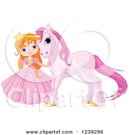 Clipart of a Red Haired Princess Girl with a Cute Purple Unicorn - Royalty Free Vector Illustration by Pushkin