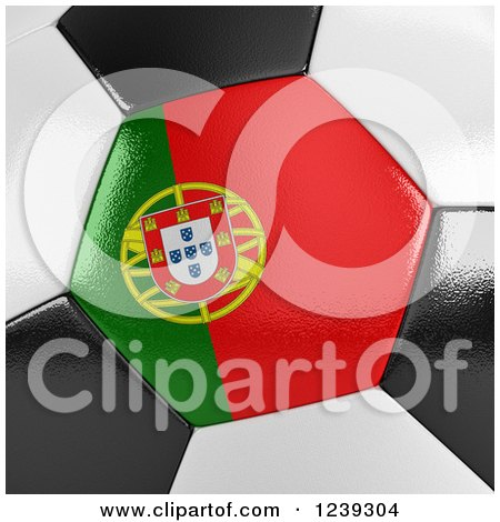 Clipart of a 3d Close up of a Portuguese Flag on a Soccer Ball - Royalty Free Illustration by stockillustrations