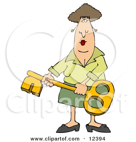 Woman Holding a Skeleton Key Clipart Illustration by djart