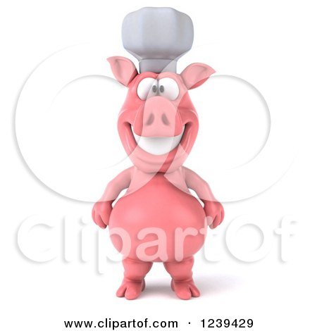 Clipart of a 3d Happy Chef Pig - Royalty Free Illustration by Julos