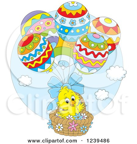 Clipart of a Cute Easter Chick Floating in an Egg Balloon Basket - Royalty Free Vector Illustration by Alex Bannykh