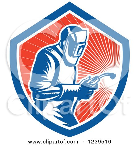 Clipart of a Retro Woodcut Welder Worker in a Red Sunny Shield - Royalty Free Vector Illustration by patrimonio