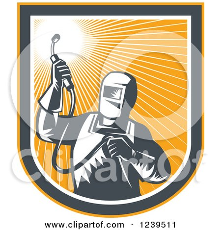 Clipart of a Retro Woodcut Welder Worker in an Orange Sunny Shield - Royalty Free Vector Illustration by patrimonio
