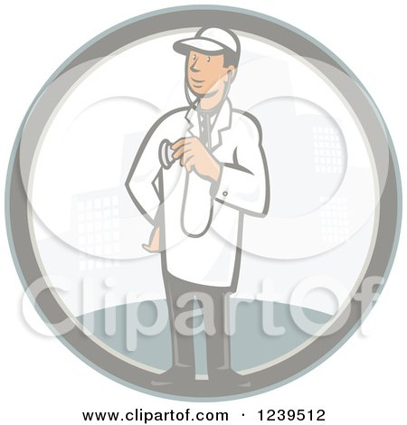 Clipart Of A Retro Cartoon Male Veterinarian Or Doctor In A City Circle Royalty Free Vector Illustration