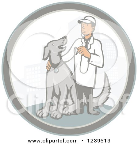 Clipart Of A Retro Cartoon Male Veterinarian With A Dog In A City Circle Royalty Free Vector Illustration