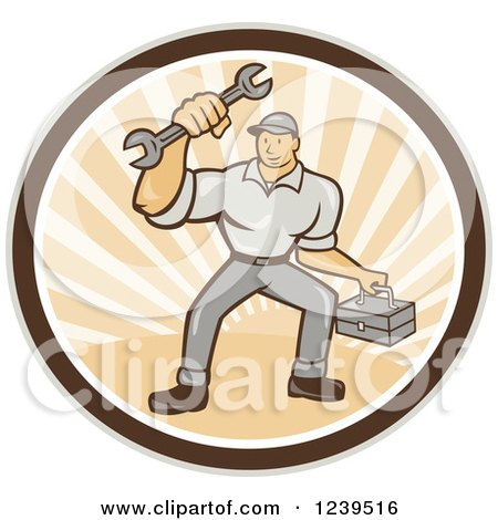 Clipart of a Cartoon Handy Man with a Wrench and Tool Box in a Sunny Circle - Royalty Free Vector Illustration by patrimonio