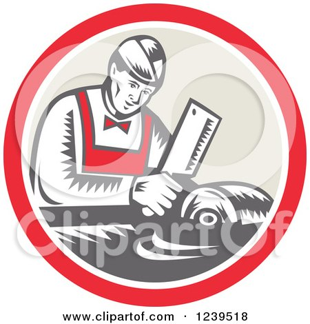 Clipart of a Retro Woodcut Butcher Man Chopping Meat in a Circle - Royalty Free Vector Illustration by patrimonio