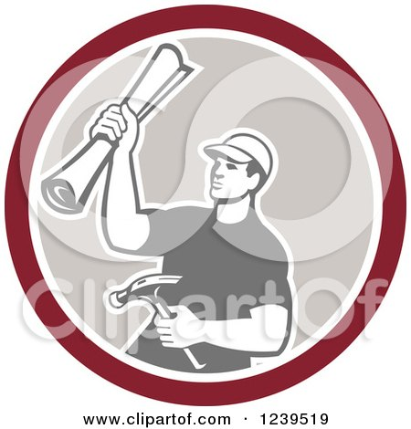 Clipart of a Retro Male Carpenter Holding up Blueprints and a Hammer in a Circle - Royalty Free Vector Illustration by patrimonio