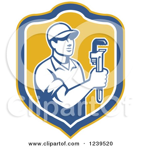 Clipart of a Retro Male Plumber Holding a Monkey Wrench in a Shield - Royalty Free Vector Illustration by patrimonio