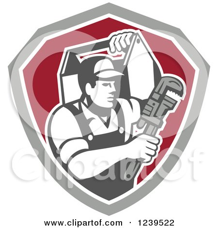 Clipart of a Retro Handy Man with a Wrench and Tool Box in a Shield - Royalty Free Vector Illustration by patrimonio