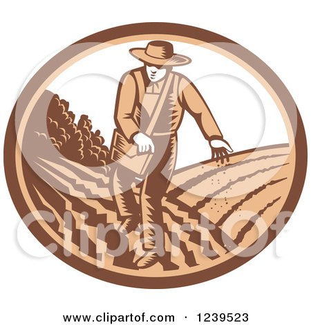 Clipart of a Retro Woodcut Farmer Sowing Seeds in an Oval - Royalty Free Vector Illustration by patrimonio