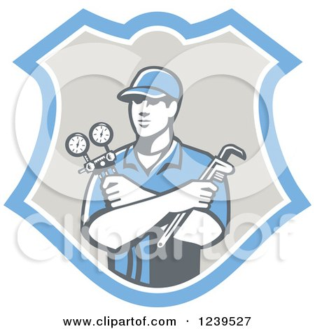 Clipart of a Retro Refrigeration Mechanic Worker Holding a Pressure Gauge in a Shield - Royalty Free Vector Illustration by patrimonio