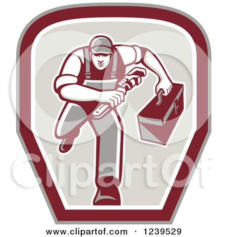 Clipart of a Retro Running Handy Man with a Wrench and Tool Box in a Shield - Royalty Free Vector Illustration by patrimonio