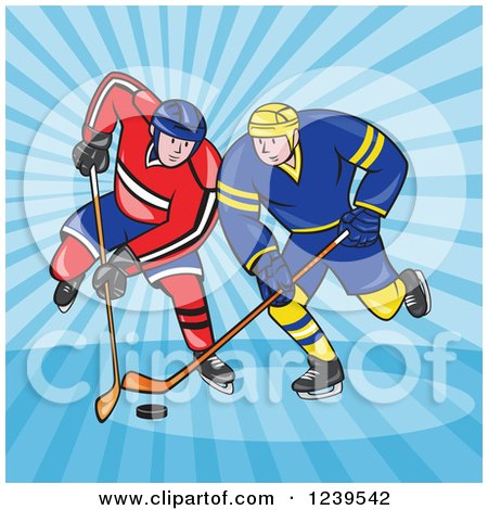 Clipart of Cartoon Hockey Players over Blue Rays - Royalty Free Vector Illustration by patrimonio