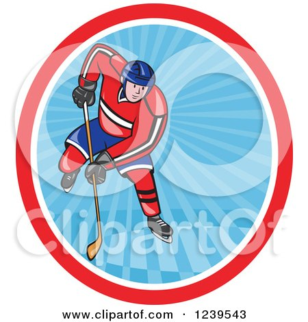 Clipart of a Cartoon Hockey Player in an Oval of Blue Rays - Royalty Free Vector Illustration by patrimonio
