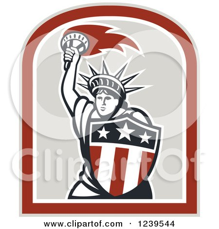 Clipart of a Retro Statue of Liberty Holding a Torch and Shield - Royalty Free Vector Illustration by patrimonio