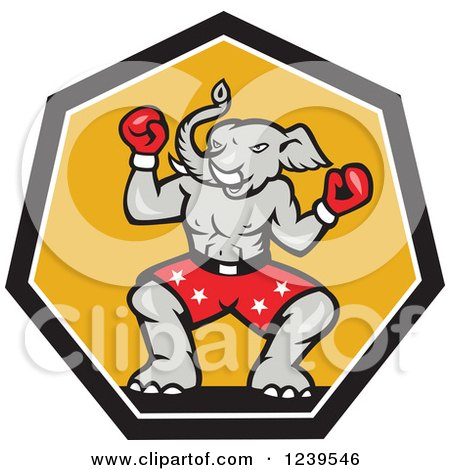 Clipart of a Cartoon Boxer Republican Elephant over Yellow - Royalty Free Vector Illustration by patrimonio