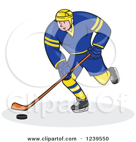 Clipart of a Cartoon Hockey Player in Blue and Yellow - Royalty Free Vector Illustration by patrimonio