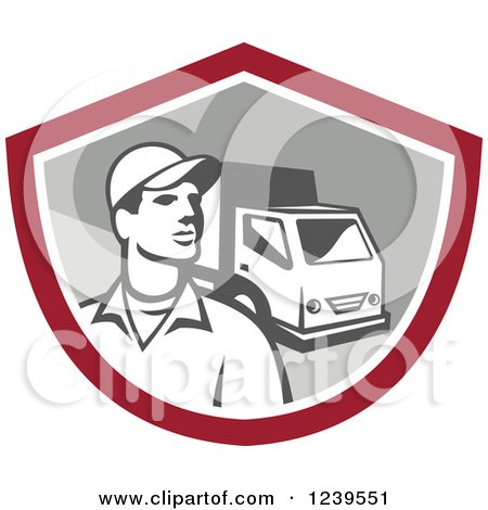 Clipart of a Retro Delivery Man and Truck in a Shield - Royalty Free Vector Illustration by patrimonio